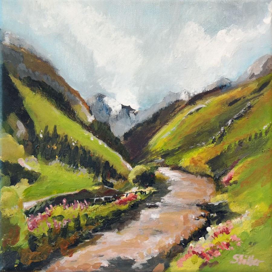 """1791 View to the Alps"" original fine art by Dietmar Stiller"