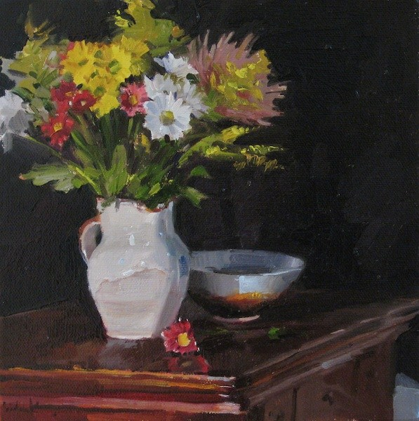 """""""Bouquet on Black floral still life daily painting of flowers in a pitcher"""" original fine art by Sarah Sedwick"""