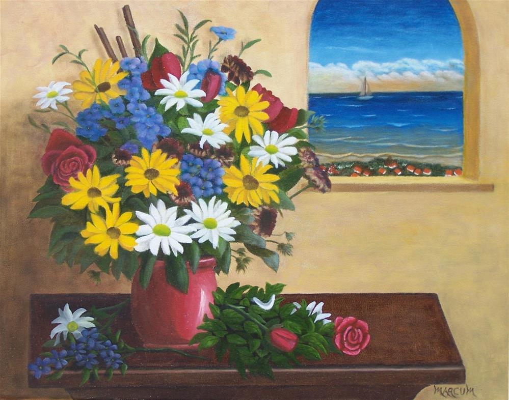 """""""Flowers by a window"""" original fine art by John Marcum"""