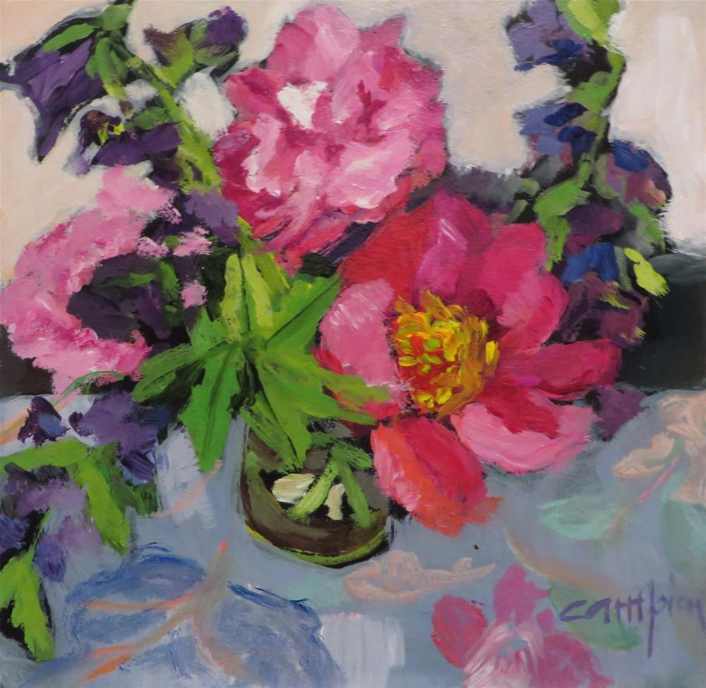 """640 Peonies and Balloon Flowers"" original fine art by Diane Campion"