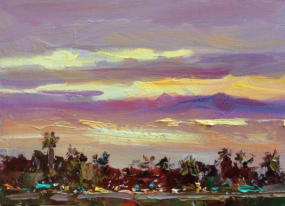 """L.A. SKYLINE"" original fine art by Tom Brown"