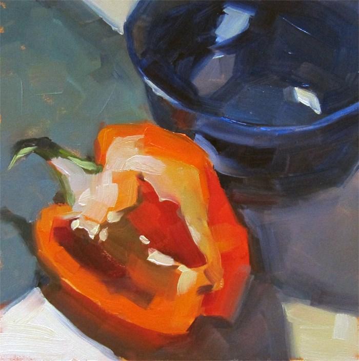 """Orange Pepper"" original fine art by Katia Kyte"