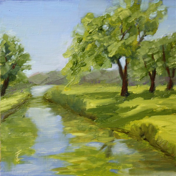 """Green Reflections"" original fine art by Jane Frederick"