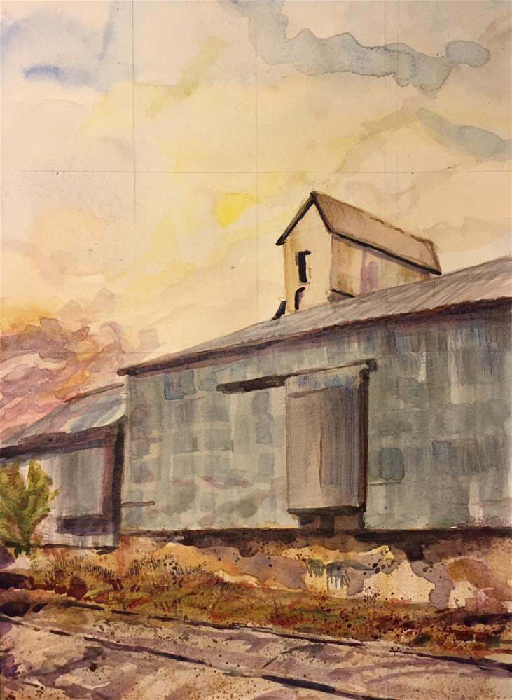 """""""Railroad Siding, Wheatland, WY"""" original fine art by Jean Krueger"""