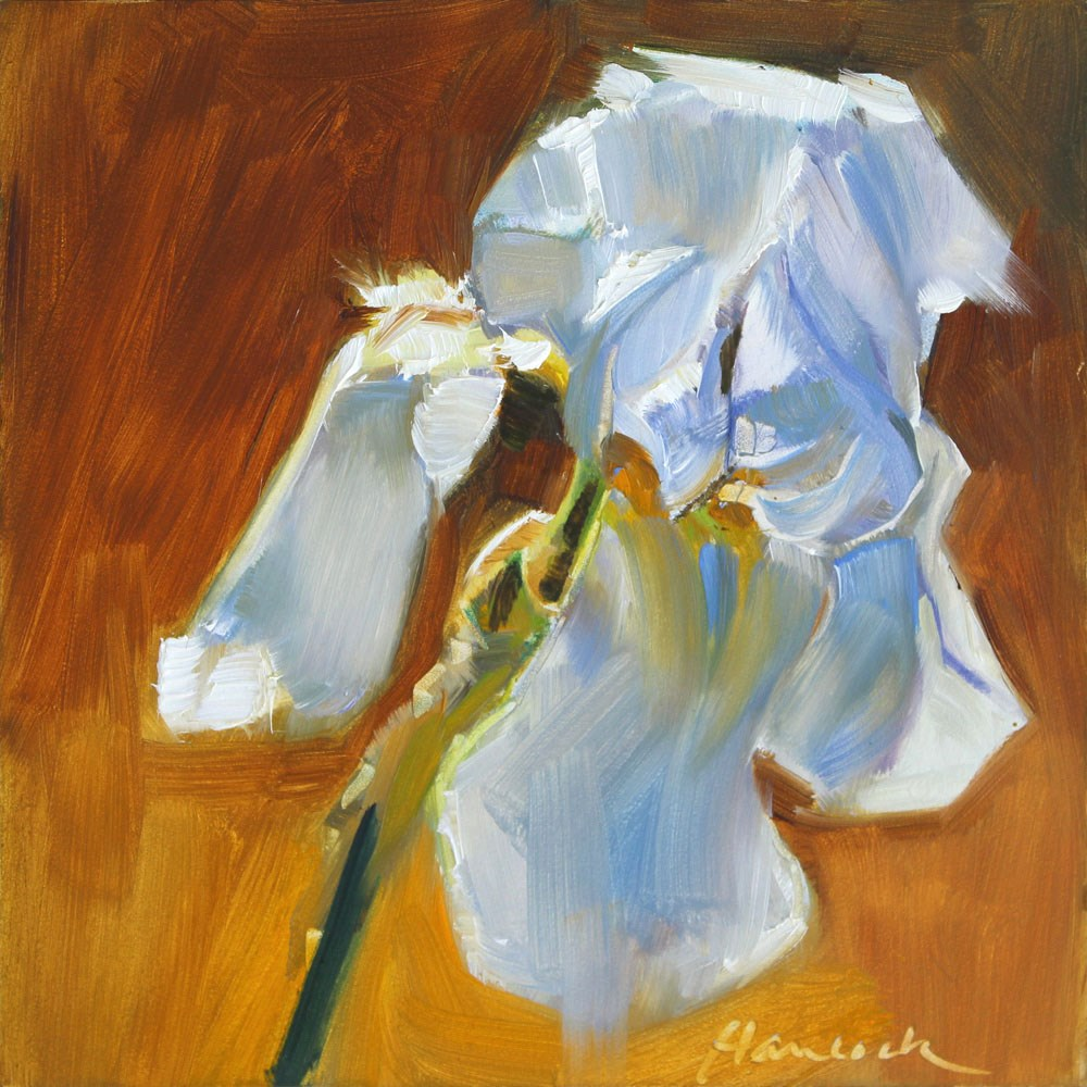 """Pale Iris on Brown"" original fine art by Gretchen Hancock"
