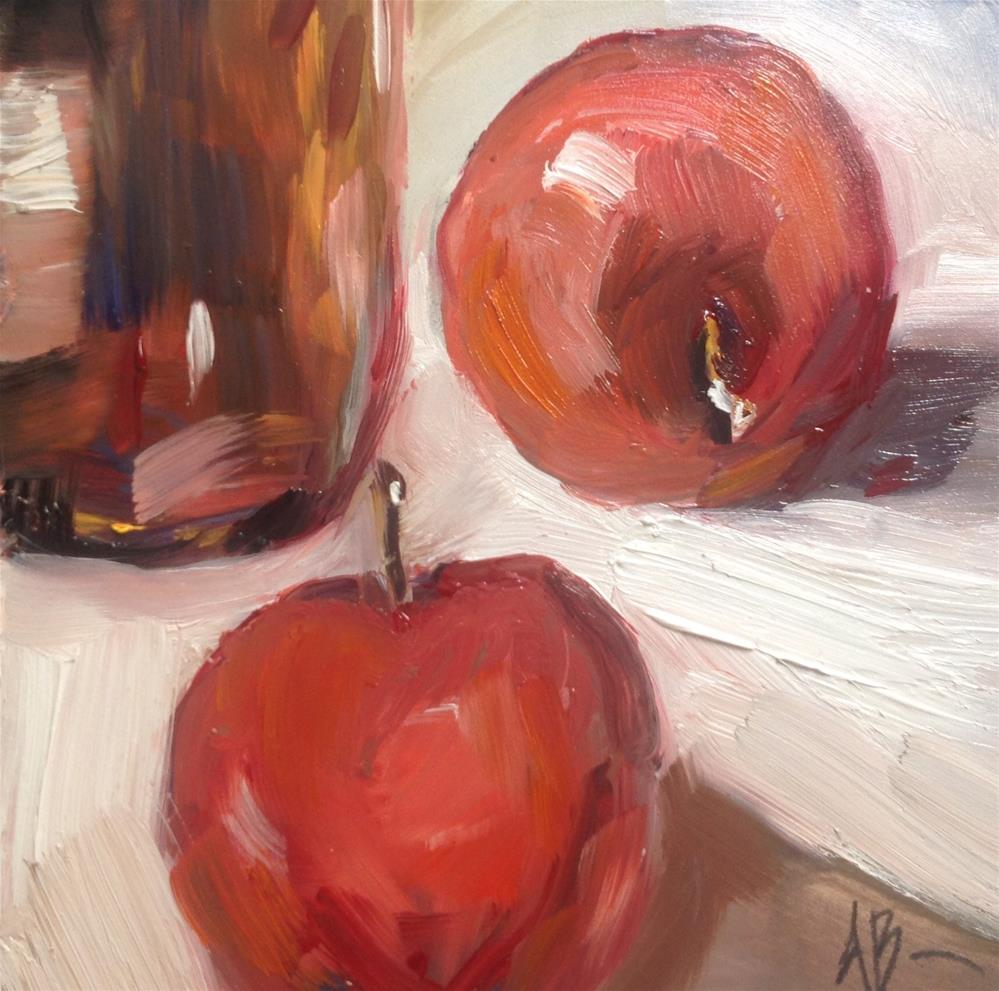 """Bottle with Apples"" original fine art by Annette Balesteri"