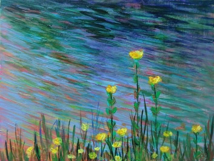 """3124 - River Flowers with mat"" original fine art by Sea Dean"