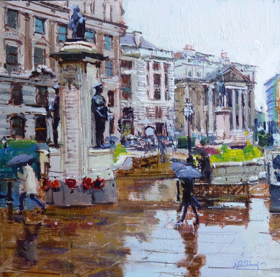 """Crazy Rain & Reflections, City of London III"" original fine art by Adebanji Alade"