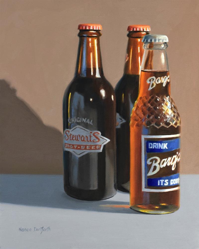 """""""Root Beer Bottles"""" original fine art by Nance Danforth"""