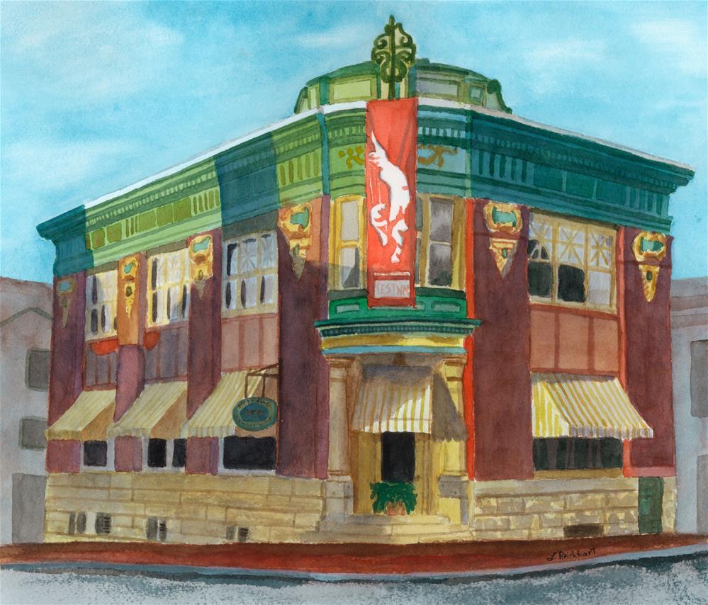 """""""Yellow Brick Bank Restaurant"""" original fine art by Lynne Reichhart"""