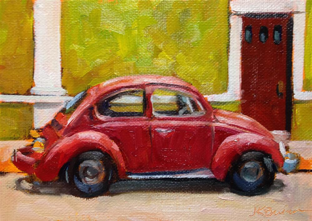 """Beetle Rojo"" original fine art by Jeanne Bruneau"