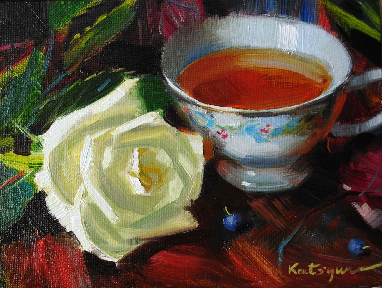 """""""Tea & Rose"""" original fine art by Elena Katsyura"""