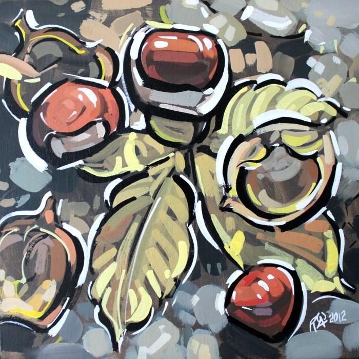 """Horse-chestnut on the ground 2"" original fine art by Roger Akesson"