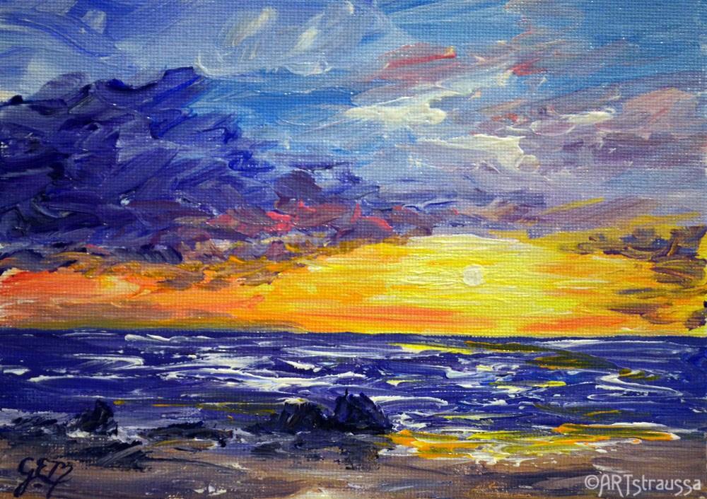 """""""Maui Sunset"""" original fine art by Gloria Ester"""