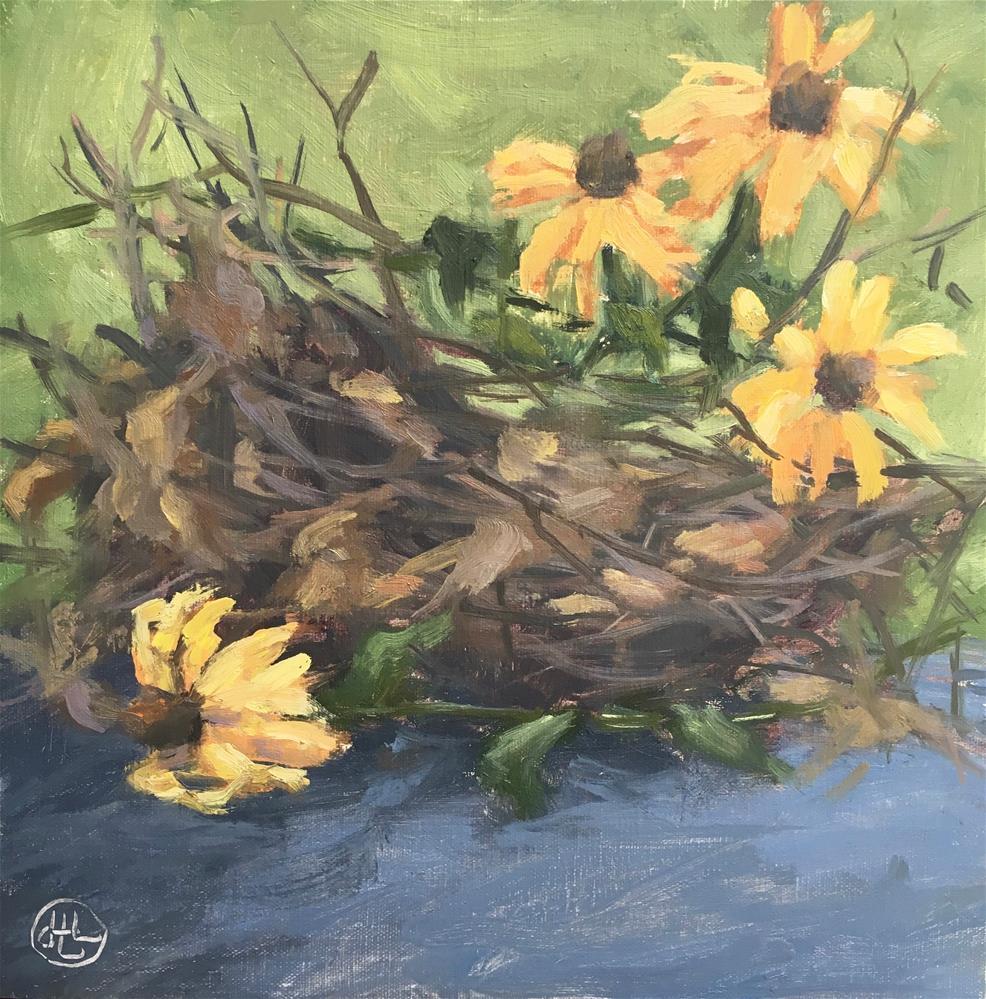 """flowers, sticks and leaves"" original fine art by Dottie  T  Leatherwood"