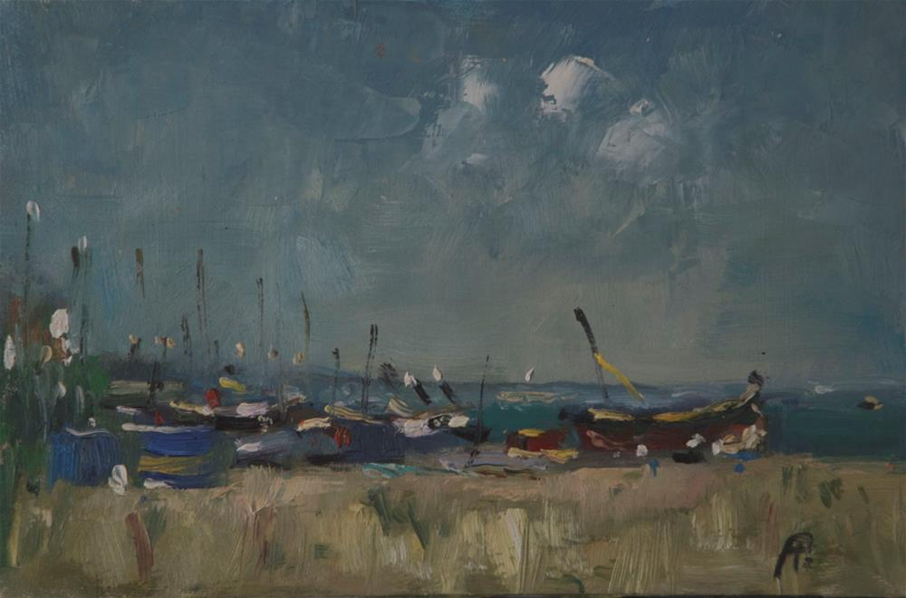 """Boats on Worthing Seafront"" original fine art by Andre Pallat"