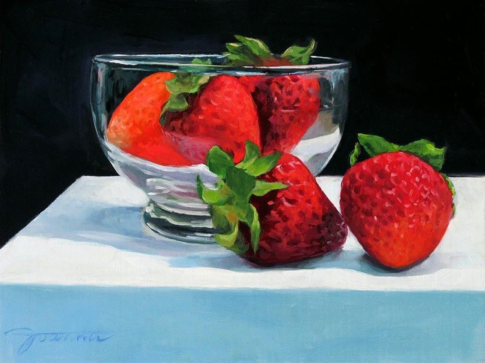"""Five Strawberries With A Dessert Cup"" original fine art by Joanna Bingham"