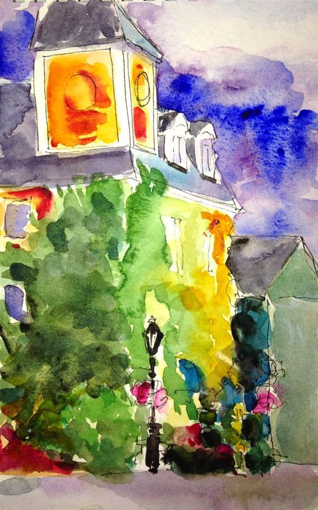 """Lamppost and Vines, Newburyport"" original fine art by Lynne Schulte"