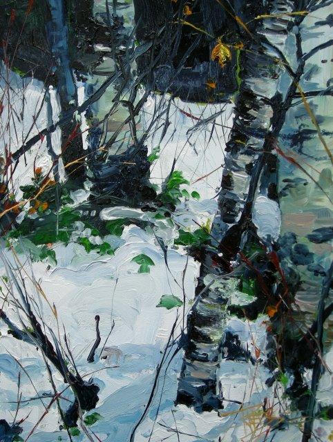 """""""Alders in Snow 3  landscape, oil painting"""" original fine art by Robin Weiss"""