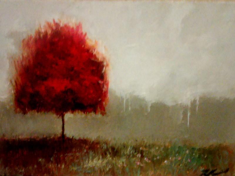 """A Red Tree II"" original fine art by Bob Kimball"