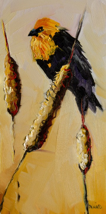 """ARTOUTWEST BLACK BIRD CATTAIL Diane Whitehead Fine art"" original fine art by Diane Whitehead"