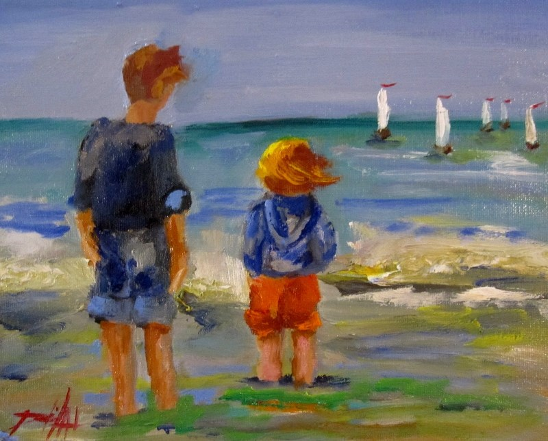 """""""Watching the Sailboats"""" original fine art by Delilah Smith"""