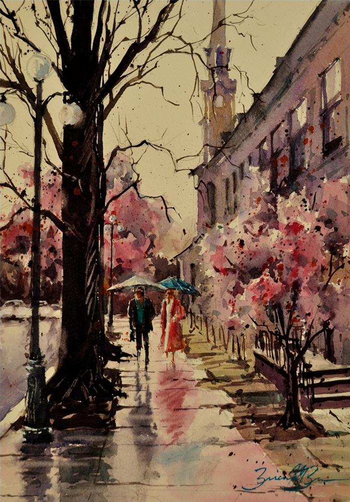 """Spring Rain"" original fine art by Brienne M Brown"