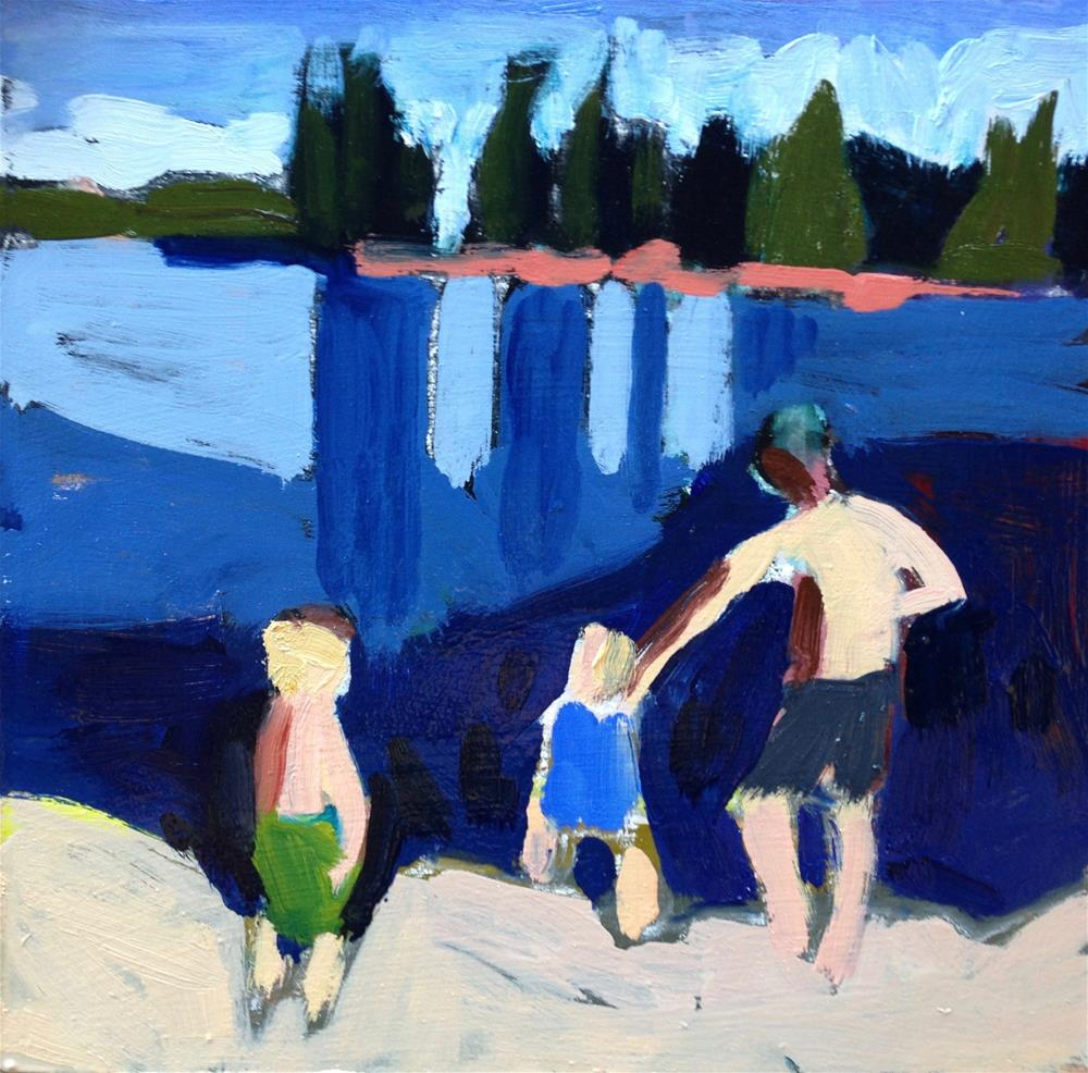 """""""Lake Time With Daddy"""" original fine art by Pamela Hoffmeister"""