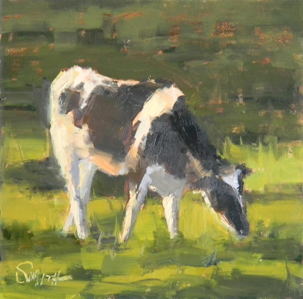 """Grazing Cow"" original fine art by Barbie Smith"