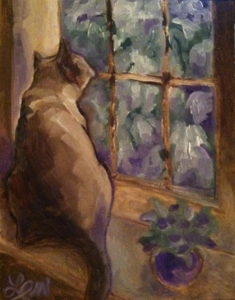 """Cat Art Oil Painting"" original fine art by Leni Tarleton"