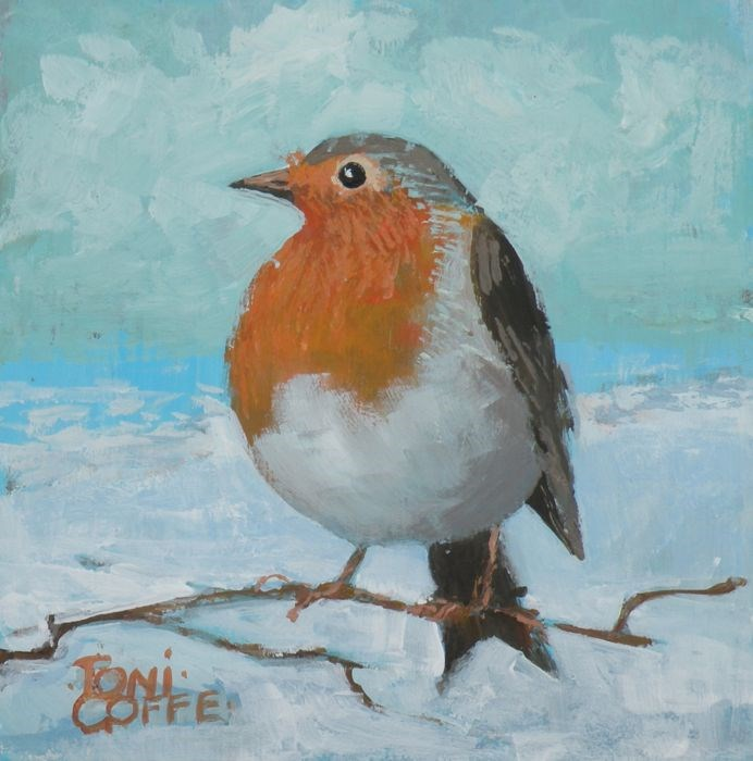 """Robin in Snow"" original fine art by Toni Goffe"