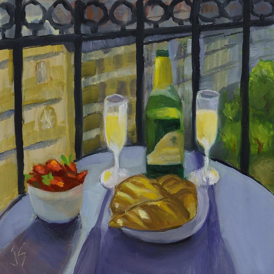 """French Balcony"" original fine art by Johnna Schelling"