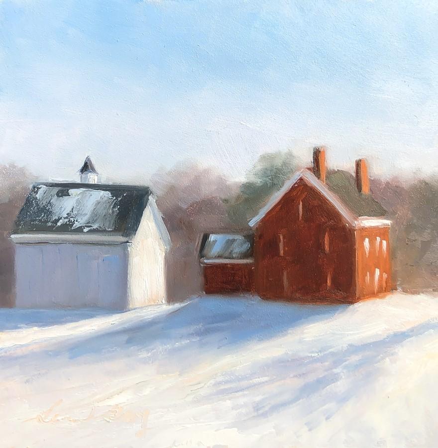 """#251 - Winter Farm - Cumberland, ME"" original fine art by Sara Gray"