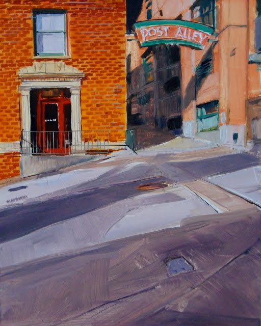 """""""Post Alley review of Post Alley oil paintings Seattle Washington"""" original fine art by Robin Weiss"""