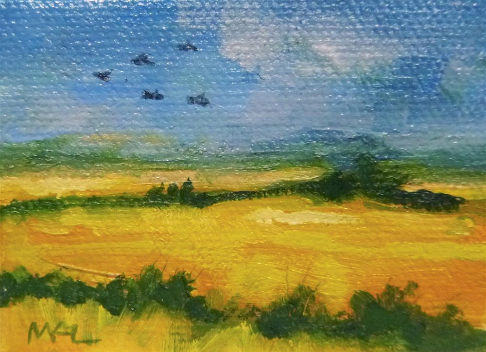 """Rice Fields over the Yolo Causeway"" original fine art by Marlene Lee"
