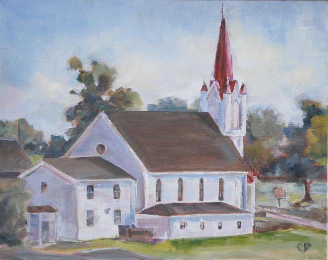 """Little church with the Red Steeple —#2"" original fine art by Carol DeMumbrum"