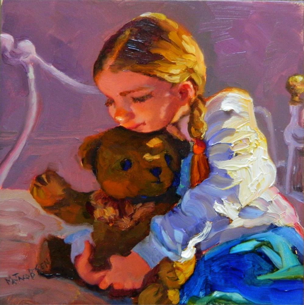 """Pigtails and Teddy Bears, 12x12, oil, paintings of little girls, toys, teddy bears, braids, pigtai"" original fine art by Maryanne Jacobsen"