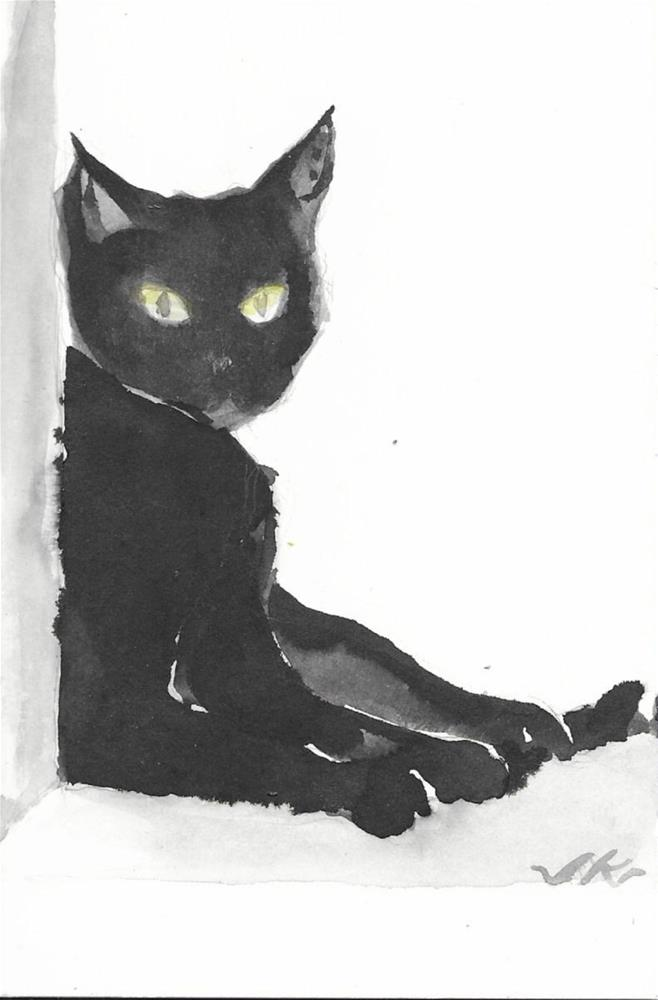 """Catty Cat 35"" original fine art by Jean Krueger"