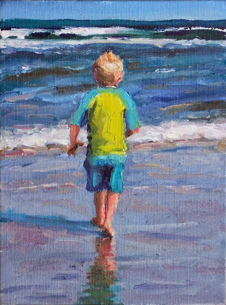 """Here I Go,figure,oil on canvas board,6x8, price $200"" original fine art by Joy Olney"