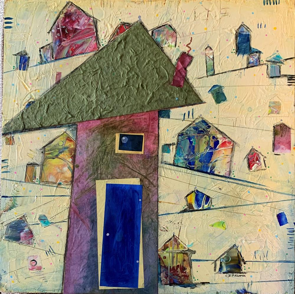 """Wonky Village"" original fine art by Jo Reimer"