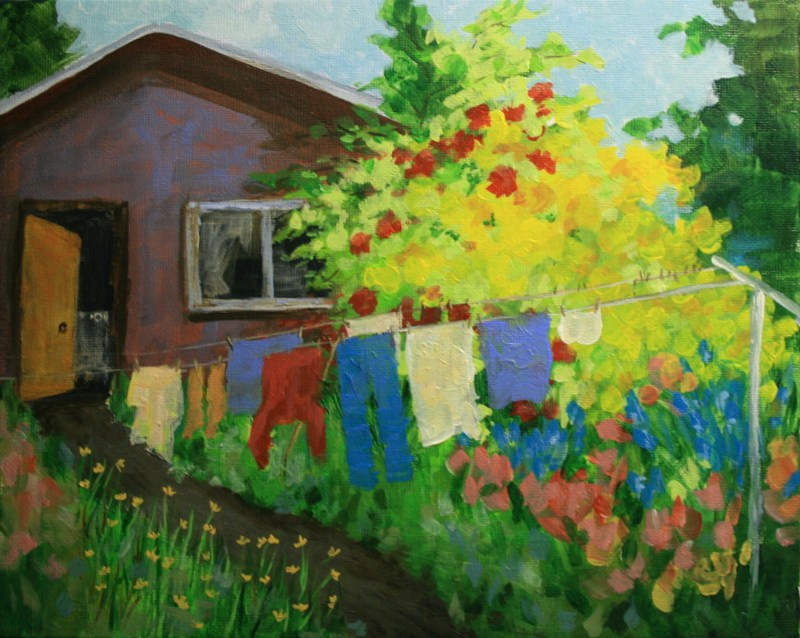 """""""Yellow Azaleas and the Old Wash House"""" original fine art by Jean Nelson"""