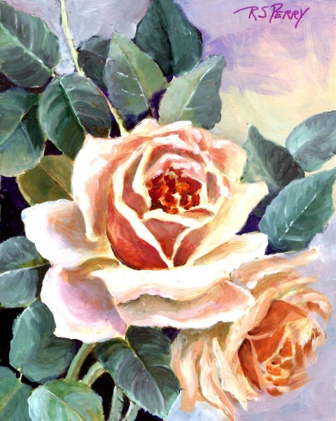 """Two roses. unframed."" original fine art by R. S. Perry"