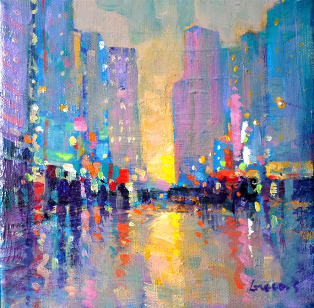 """TWILIGHT IN NEW YORK"" original fine art by salvatore greco"