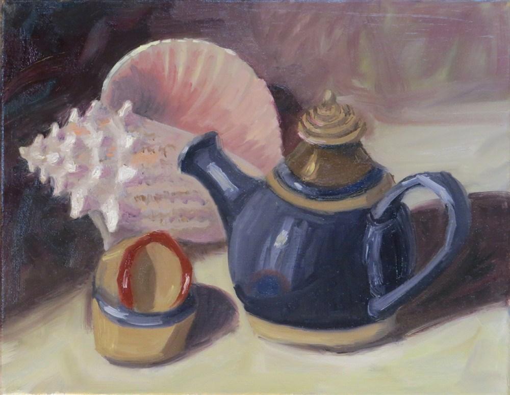"""Tea for Two by the Sea"" original fine art by Richard Kiehn"