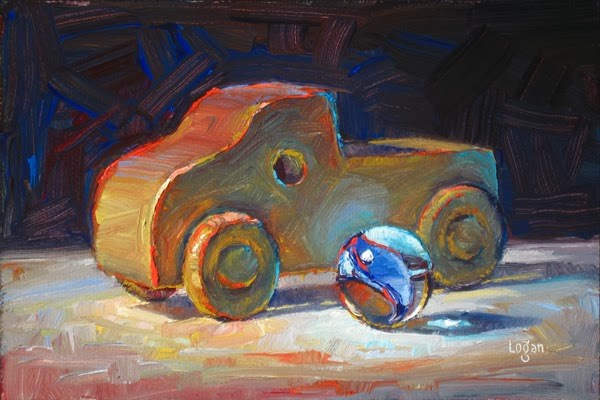 """""""Toy Wood Truck and Marble"""" original fine art by Raymond Logan"""