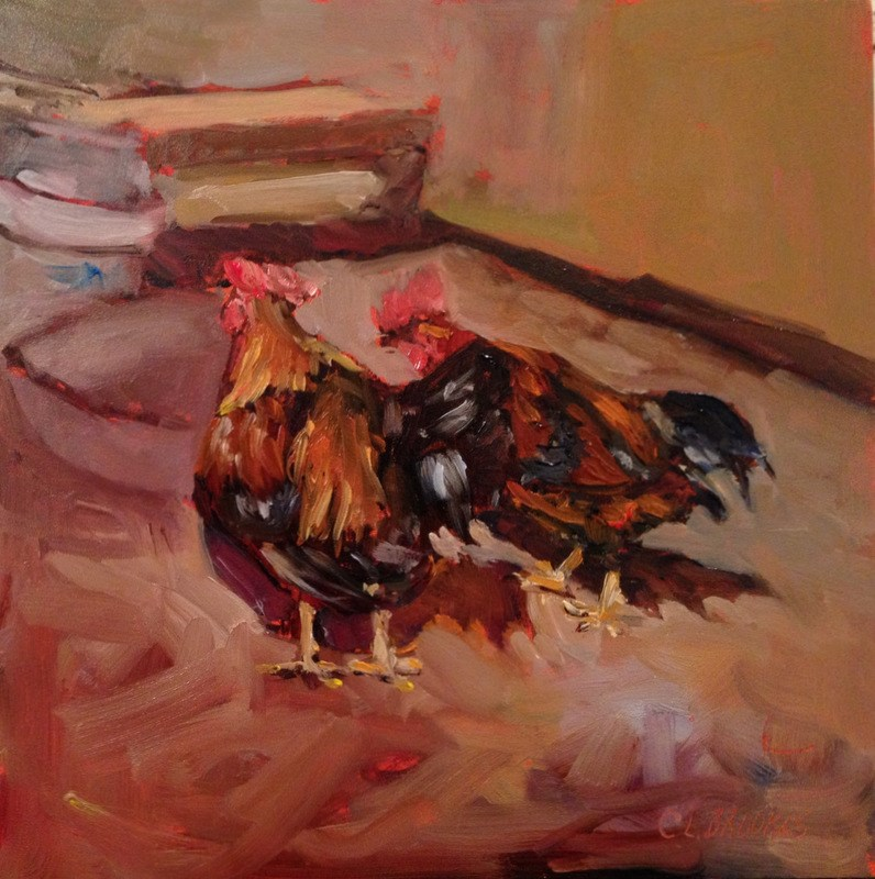 """Feed Dish is Empty, Day 24"" original fine art by Claudia L Brookes"