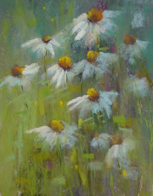 """""""Breaking Free From Reference Photos...Painting Daisies!"""" original fine art by Karen Margulis"""