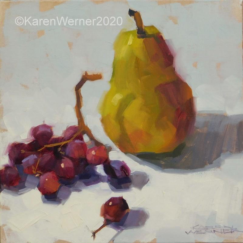 """""""Hello, Pear"""" original fine art by Karen Werner"""