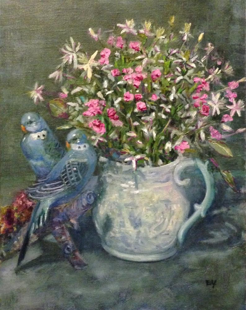"""""""SWEET WILLIAM WITH PARAKEETS"""" original fine art by barbara yongue"""