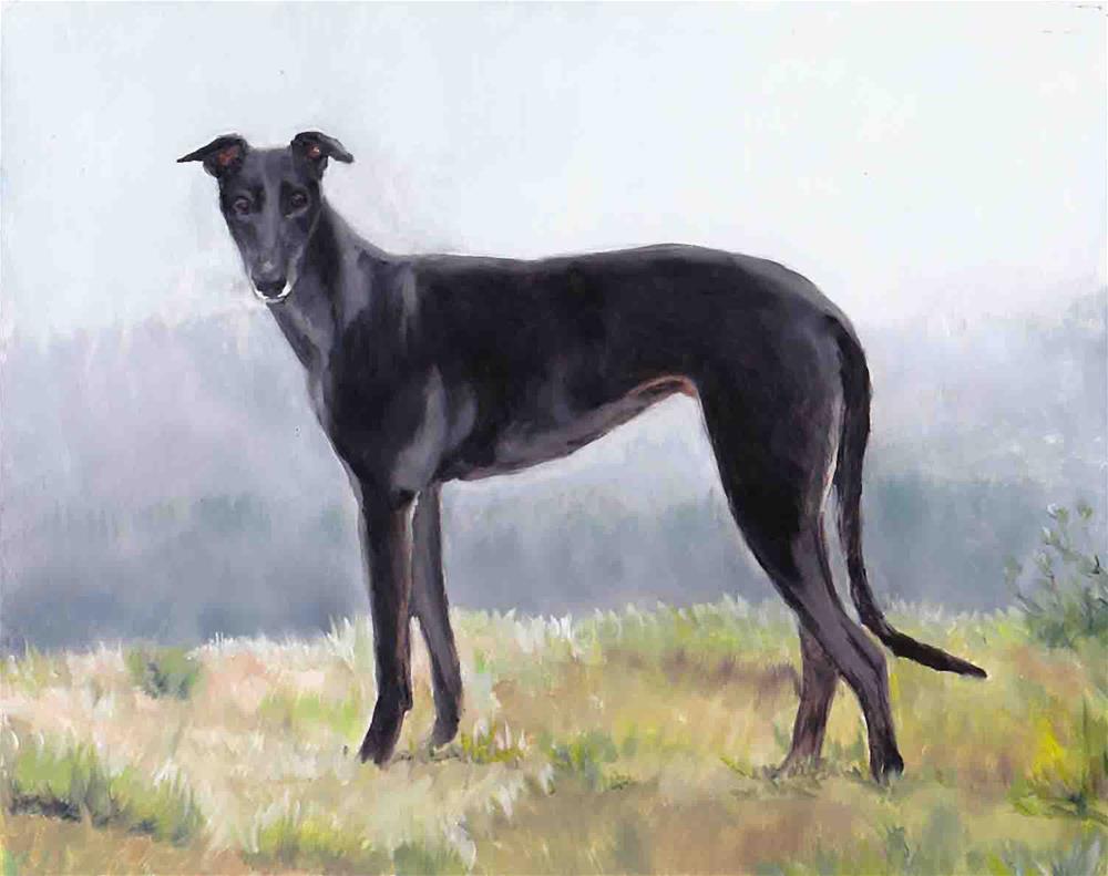 """""""Black Greyhound Standing"""" original fine art by Charlotte Yealey"""